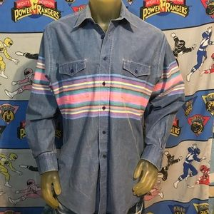 VintageFaded Wrangler Western Cowboy Shirt Large